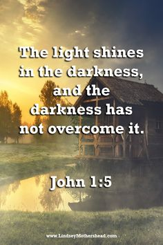 The light shines in the darkness, and the darkness has not overcome it. - John 1:5 - #BibleVerses #Scripture