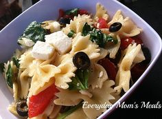 ~Bow-Tie Pasta Salad with Spinach and Feta~ A simple, fresh and delicious summer inspired pasta salad perfect for any weeknight meal or because there is no mayo, outdoor party!