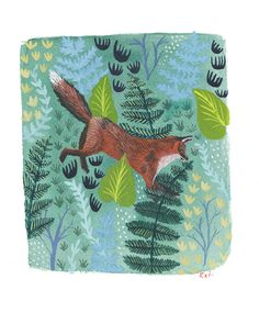 Sally Von Foxen . print // Watercolor Digital Print // Red Fox in the Ferns Folklike Painting