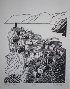 """Cinque Terra"" linocut by Di Oliver. www.dioliver.co.ukTags: Linocut, Cut, Print, Linoleum, Lino, Carving, Block, Woodcut, Helen Elstone, Buildings, Bird's eye view, Town, Landscape."