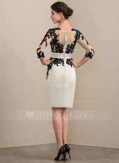Sheath/Column Scoop Neck Knee-Length Satin Lace Mother of the Bride Dress With Beading Sequins - JJ's House Patterned Work Dresses, Dresses For Work, Formal Dresses, Mother Of Groom Dresses, Mother Of The Bride, Bride Dresses, Peplum Dress, Lace Dress, Diy Couture
