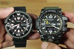 Seiko Prospex Black SRP655K1 Versus G-Shock GWG-1000-1A3. They both Big - but not that Big.