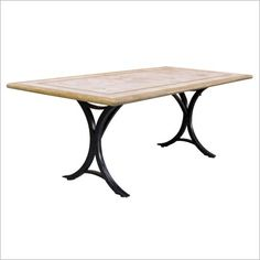 Travertine and wrought iron table