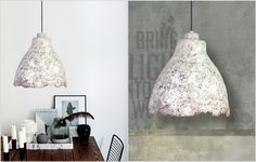 """The project of the Designer Studio """"The Paper Moon Factory"""": """"Eggshell Concrete Light"""". An amazing new way to use together paper pulp and creativity! Concrete Light, Paper Moon, Eggshell, Articles, Ceiling Lights, Creative, Design, Home Decor, Decoration Home"""