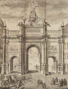 PRINTED IN HONOUR OF THE VISIT OF YOUNG MARIE ANTOINETTE IN FREIBOURG - The gate build by sculptor Christian Wentzinger for the passage of The Dauphine, Berlin Katalog, op. cit.
