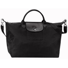 Longchamp Le Pliage Neo Large Handbag (£210) ❤ liked on Polyvore featuring bags, handbags, black, handbag purse, strap bag, handbags bags, longchamp bag and longchamp purse