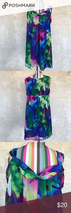 "Lane Bryant Sleeveless Multicolor Shift Dress Sleeveless multicolor print dress in excellent condition.                                Length: 35""                                       Armpit to armpit: 21"" Lane Bryant Dresses Mini"
