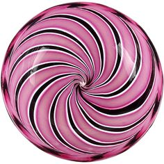 Murano Pink Black Aventurine Swirl Ribbons Italian Art Glass Decorative Dish   From a unique collection of antique and modern bowls and baskets at https://www.1stdibs.com/furniture/decorative-objects/bowls-baskets/