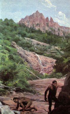A pair of Australopithecus afarensis by Zdeněk Burian Humanoid, Prehistoric World, Human Evolution, Stone Age, Flora And Fauna, Before Us, Animal Kingdom, Primitive, Beast