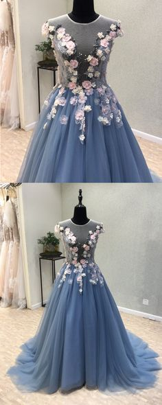 Blue tulle see through back long 3D lace flower evening dress, long senior prom dress with cap sleeves