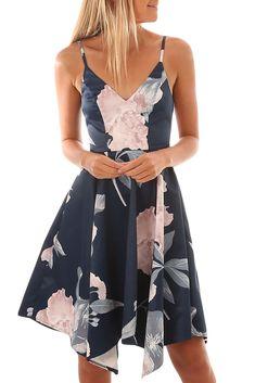 New Fashion Navy Floral Print Asymmetric Hem Sway Dress Online Casual Cocktail Dress, Asymmetrical Dress, New Fashion, Fashion 2020, Lady, Dresses Online, Dresser, Floral Prints, Peplum