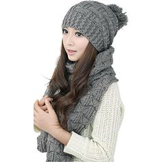 Lanzom Women Lady Fashion Winter Warm Knitted Hat and Sca... Scarf Hat 3b826c771f83