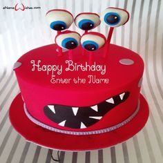 Scary Monster Birthday Cake with Name - eNameWishes