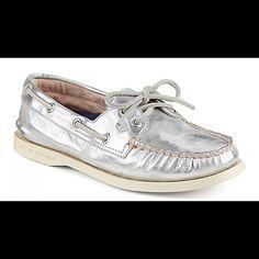 Metallic silver Sperrys. EUC. Worn twice Great quality metallic silver Sperry Sperry Top-Sider Shoes