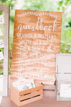 Unique wedding guestbook, postcard guestbook, non-traditional guestbook, time capsule guestbook, woodland wedding, forest wedding, bohemian wedding