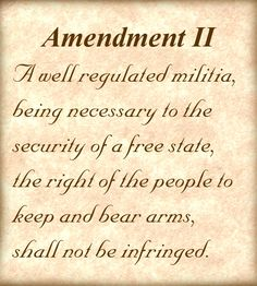 The most important words in our constitution because when the freedoms listed in Amendment I are infringed upon, where are you going to turn? This is not a right to hunt animals and visit the shooting range. This is a RIGHT to challenge tyranny and I think it's high time for some action.