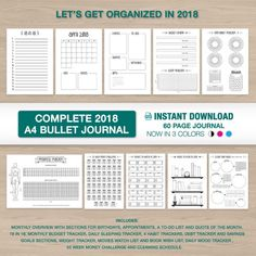 2018 Bullet Journal in A4 Record every milestone and occasion in the new year! Organize your life by setting goals, both financially and personally. This Bullet Journal will get you excited to start a new day and motivate you to get more out of your life. Now in 3 colors: Black