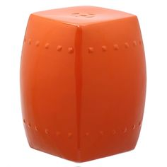 Clean, transitional styling defines the Villa indoor-outdoor garden stool in orange glazed ceramic. Crafted with traditional nailhead detailing and flat top, this cube shaped piece does double duty as a side table indoors and out. Outdoor Stools, Outdoor Decor, Outdoor Lounge, Outdoor Dining, Indoor Outdoor, Ceramic Garden Stools, Ceramic Stool, Villa, Wedding Chairs