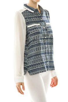 Aztec Pattern Chiffon Sleeve Top #Shirt