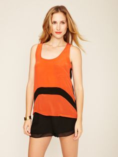 Cristal Silk Pocket Top by The Cue on Gilt.com