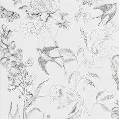 Sibylla Garden Black And White Wallpaper | Designers Guild GORGEOUS! Love the swallows! £59 per roll