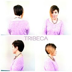 Asymmetrical Cut with a Flash of Blonde by stylist Kelli T. at Tribeca Color Salon on Kennedy Blvd.