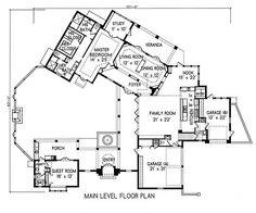 Plan #1-1220. Spanish style home with a living S.F. of 3705 (5663 S.F. Total), 4 full baths and 1 half baths. 2 story home, 93' wide, and 101' deep.