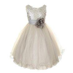 Cute Girls Fashion Dress Summer Kid Girls Sleeveless Belt Flowers Tutu Princess Party Dresses Ball Gown Kids Dresses Gray