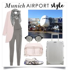 """A380 - Munich Airport"" by epmug ❤ liked on Polyvore featuring Tod's, Skin, Illesteva, Rimowa, Steffen Schraut, Salvatore Ferragamo, GetTheLook and airportstyle"