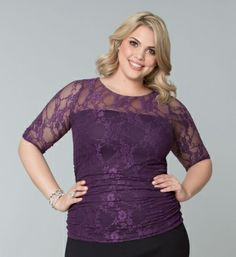 Plus Size Purple Lace Top at www.curvaliciousclothes.com