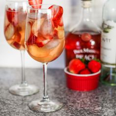 Peach Strawberry Sangria - Just a Little Bite