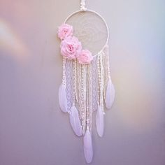 Dreamcatcher with Pink Flowers // White Dream by InspiredSoulShop