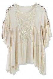 Boho Top With Lace Fastening Sleeve in Beige