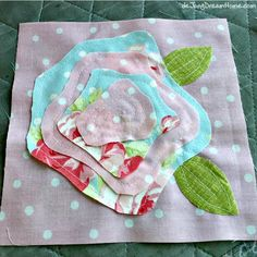 Rag Quilt Patterns, Applique Quilts, Rose Applique, Quilting Projects, Sewing Projects, Polka Dot Quilts, Shabby Chic Quilts, Flower Quilts, Brain Injury