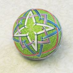 Temari Ornament Japanese Embroidered Ball by PennyFabricArt, $35.00