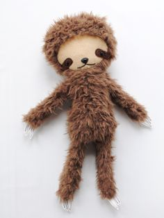 Kawaii Sloth Stuffed Animal Plushie in Brown.