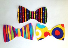 Set of 3 Iron-On Bow Ties  Bold and Bright by AppliqueDecor