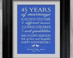 Wedding Gifts For 45th Anniversary : 45th Wedding Anniversary Gift for Parents Sapphire Anniversary Gift 45 ...