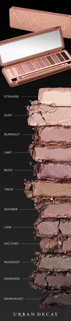 Experiment with 12 insanely beautiful, rose-hued neutrals in our Naked3 Palette — From pale, shimmery pink to deep black matte with rosy red micro-glitter.