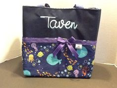 Personalized large diaper bag with lots of by MandaPandaBagsandMor