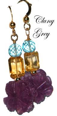 unusual jewelry - pair of earrings of fluorite, citrine and blue topaz
