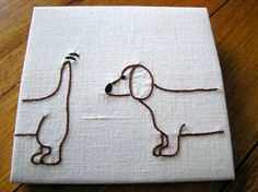 feeling stitchy: Embroidery Project - - - sausage dog cd envelope