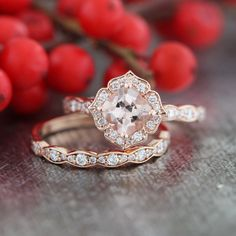 Mini Vintage Floral Morganite Engagement Ring and Scalloped Diamond Wedding Band Bridal Set in 14k Rose Gold 6x6mm Cushion Gemstone Ring Set by LaMoreDesign on Etsy https://www.etsy.com/listing/265232859/mini-vintage-floral-morganite-engagement