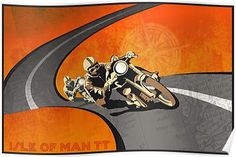 retro motorcycle Isle of Man TT poster Posters