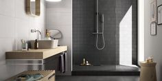 7 Timeless Bathroom Surface Alternatives To The White Subway Tile Painted Bathroom Floors, Black Tile Bathrooms, Bathroom Tile Designs, Bathroom Floor Tiles, Chic Bathrooms, Wall And Floor Tiles, Timeless Bathroom, Beautiful Bathrooms, Modern Bathroom