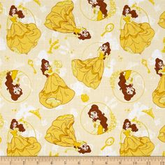 Disney Princess Belle Beauty and the Beast Yellow from @fabricdotcom  Licensed by Disney to Camelot Fabrics, this magical Disney princess cotton print is perfect for quilting, apparel and home décor accents. This is a licensed fabric and not for commercial use. Colors include shades of yellow, white, brown, pink and teal.