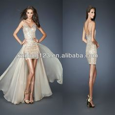 Splendid Sequined Short Cocktail Gown Beaded Illusion Straps V neck Nude Long Chiffon Detachable Skirt Prom Dresses-in Prom Dresses from Apparel  Accessories on Aliexpress.com $166.00