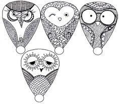 zentangle owls   ...have to draw these cuties... reminds me of an Owl versions of Angry Birds (copyright).