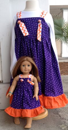 Matching Girl and Doll Collegiate Dresses by AnInitialImpression, $45.00