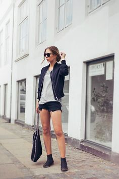 Pouline Gernes - Topshop Bomber Jacket, Carin Wester Top, Brandy Melville Shorts, Scorett Boots, Stella Mccartney Bag, Gina Tricot Shades, T...